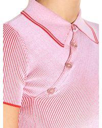 Stella McCartney - Pink Cutaway Hem Ribbed-knit Polo Shirt - Lyst