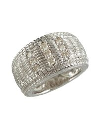 Judith Ripka - Metallic Diamond And Crosshatched Sterling Silver Ring - Lyst