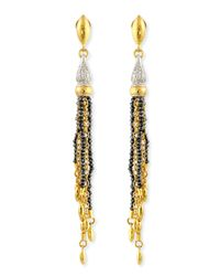 Gurhan - Metallic Sultan Collection White & Black Diamond Tassel Earrings - Lyst