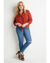Forever 21 | Orange Plus Size Self-tie Front Shirt | Lyst