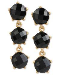 Kenneth Cole | Metallic Gold-tone Black Stone Triple Drop Earrings | Lyst