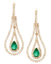 Macy's | Green Emerald (3/4 Ct. T.w.) And Diamond (3/4 Ct. T.w.) Teardrop Earrings In 14k Gold | Lyst