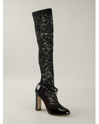 Dolce & Gabbana - Black 'Vally' T-Bar Lace Sock Pumps - Lyst