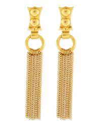 Stephanie Kantis - Metallic 24k Gold-dipped Caesar Chain Fringe Earrings - Lyst