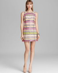 MILLY | Pink Shift Dress Couture Raffia Jacquard | Lyst