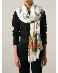Dolce & Gabbana - White Floral Scarf - Lyst