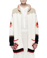 Stella McCartney - White Horse-print Intarsia Cardigan Sweater - Lyst