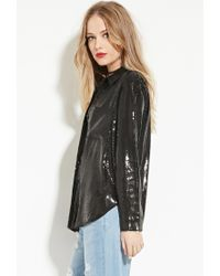 Forever 21 | Black Endless Rose Sequined Shirt | Lyst