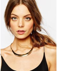 Pieces - Metallic Volani Collar Necklace - Lyst