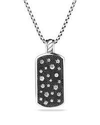 David Yurman - Metallic Midnight Mélange Small Tag with Diamonds On Chain - Lyst