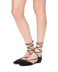Kendall + Kylie Black Sage Lace Up Ankle Flats