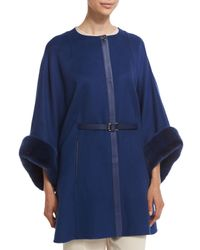 Loro Piana - Blue Margot Cashmere Cape With Mink Fur - Lyst