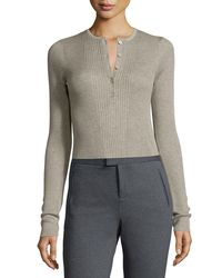 ATM - Gray Long-sleeve Engineered Henley Top - Lyst