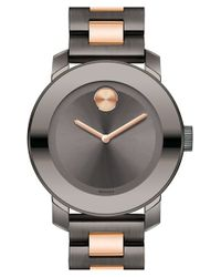Movado - Black 'bold' Two-tone Bracelet Watch - Lyst
