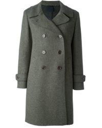 Aspesi - Green 'gastone' Double Breasted Coat - Lyst