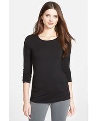 Halogen - Black Long Sleeve Crewneck Tee - Lyst