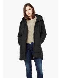 Mango - Black Quilted Long Coat - Lyst