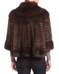 Saks Fifth Avenue - Brown Three-quarter Sleeve Sable Fur Jacket - Lyst