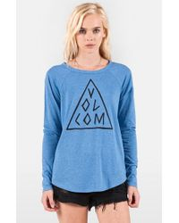 Volcom | Blue 'tripod' Long Sleeve Graphic Tee | Lyst