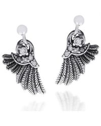 Aeravida | Metallic Angelic Wings White Cubic Zirconia Array .925 Silver Earrings | Lyst