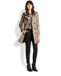The Kooples - Natural Leather-Trimmed Stretch Cotton Trenchcoat - Lyst