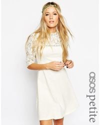 ASOS   Natural Skater Dress With High Neck And Mixed Lace Inserts   Lyst