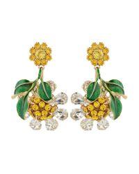 Dolce & Gabbana | Metallic Crystal-embellished Hanging Flower Earrings | Lyst
