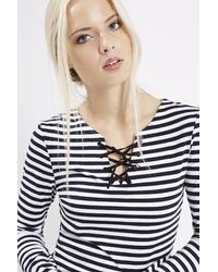 TOPSHOP - Black Tall Tie Front Stripe Top - Lyst