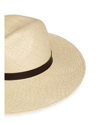 Janessa Leone | Natural 'gloria' Leather Band Straw Panama Hat for Men | Lyst