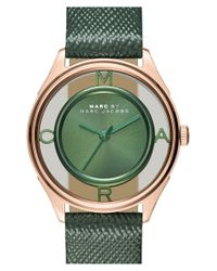 Marc By Marc Jacobs - Green 'tether' Skeleton Leather Strap Watch - Lyst