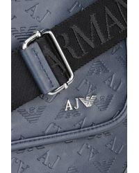 Armani Jeans - Blue All Over Logo Eco Leather Messenger Bag for Men - Lyst