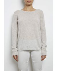 INHABIT | Natural Extra Fine Cashmere Tee With Pointelle | Lyst