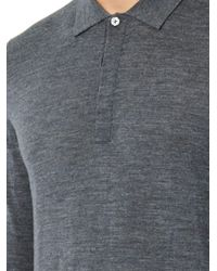 Paul Smith - Gray Fine Wool-Knit Polo Sweater for Men - Lyst