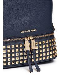 Michael Kors - Blue 'rhea' Small Stud Leather Backpack - Lyst