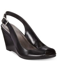 Style & Co. | Black Style&co. Babeta Slingback Dress Wedge Sandals | Lyst