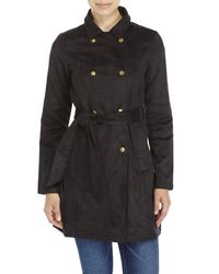 Re:named | Black Faux Suede Trench Coat | Lyst