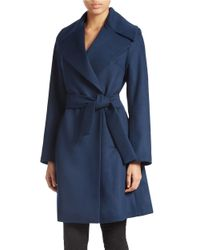 Trina Turk | Blue Belted Flared Coat | Lyst