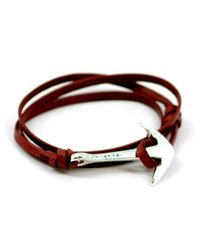Miansai | Brown Anchor Burgundy Leather Bracelet for Men | Lyst