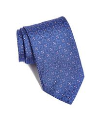 David Donahue | Blue Geometric Silk Tie for Men | Lyst