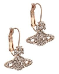 Vivienne Westwood | Pink Grace Bas Rose Gold Tone Swarovski Orb Earrings | Lyst