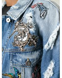 Marco Bologna - Blue Embroidered Distressed Denim Jacket - Lyst