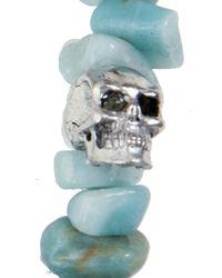 Duchess Of Malfi - Blue Aquamarine Large Skull Bracelet - Lyst