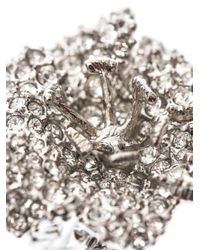 Alexander McQueen | Metallic Crystalembellished Flower Ring | Lyst