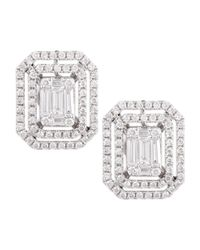 Platinum Heart | Green Emerald-Cut Diamond Earrings With Illusion Setting And Double Halos | Lyst