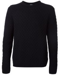 A.P.C. - Blue Textured Knit Sweater for Men - Lyst