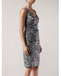 David Meister - Gray Embroidered Floral Dress - Lyst