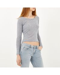 River Island - Blue Stripe Fitted Top - Lyst