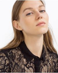 Zara | Black Lace Shirt | Lyst