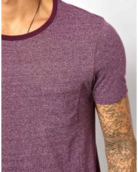 ASOS - Purple Tshirt with Pocket and Textured Yarn for Men - Lyst