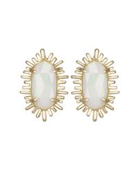 Kendra Scott | Kay Stud Earrings, White Iridescent | Lyst